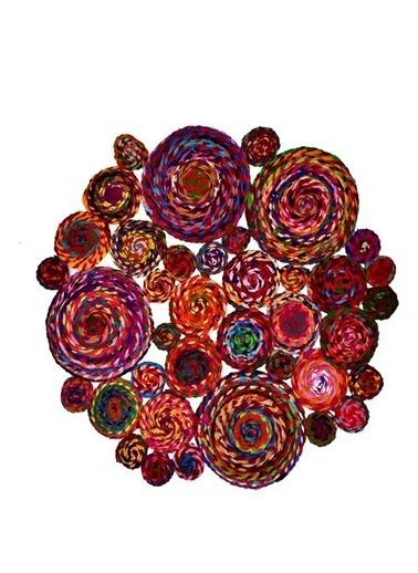 Giz Home Bolero Jüt Örgü Halı 120X120 Y13-499 Dikdörtgen Çok Renkli Renkli